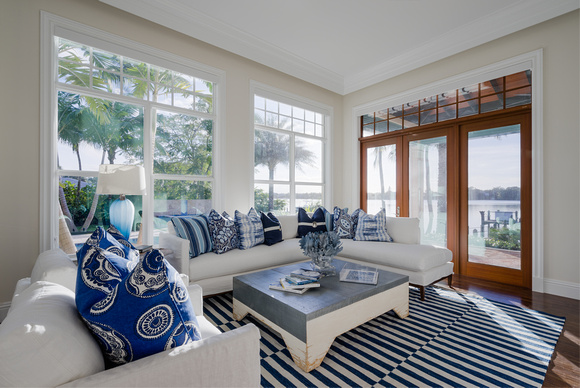 Coastal interior design guide pineapples palms too for Coordinating fabrics for living room